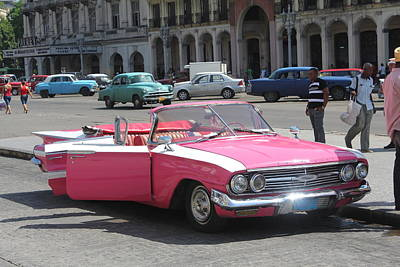 Poster featuring the photograph Pink Chevy In Havana by David Grant