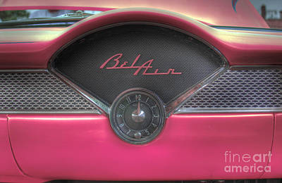 Pink Chevy Bel Air Glove Box And Clockface Poster by Lee Dos Santos