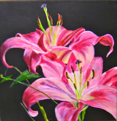 Pink Day Lilies Poster by Maureen Pisano