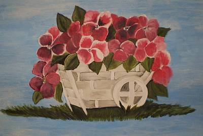 Pink Flowers In A Wagon Basket Poster by Christy Saunders Church