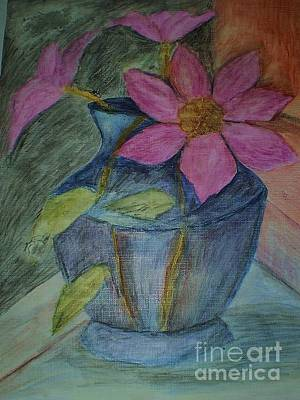 Pink Flowers In Blue Vase Poster by Christy Saunders Church
