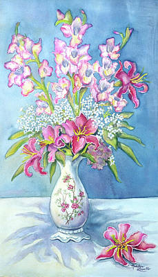 Pink Lillies In A Vase Poster