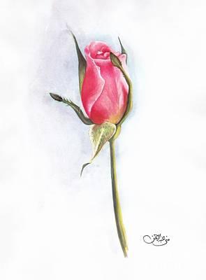 Pink Rose Poster by Muna Abdurrahman