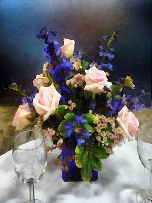 Pink Roses And Purple Delphinium Poster by Susan Savad