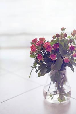 Pink Roses In Vase Poster by Francesca Guadagnini