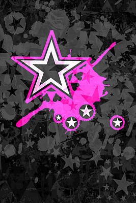Pink Star 3 Of 6 Poster by Roseanne Jones