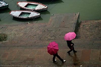 Pink Umbrellas Poster by Copyright Soumya Bandyopadhyay Photography