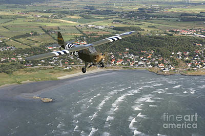 Piper L-4 Cub In Us Army D-day Colors Poster