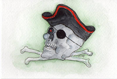 Poster featuring the painting Pirate Greetings by Doris Blessington