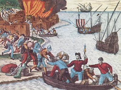Pirates Burn Havana, 1555 Poster by Photo Researchers