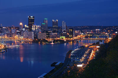 Poster featuring the photograph Pittsburgh In Blue by Michelle Joseph-Long