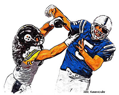 Pittsburgh Steelers Troy Polamalu And Indianapolis Colts Kerry Collins Poster
