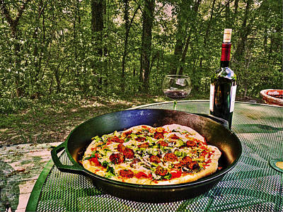 Poster featuring the photograph Pizza And Vino by William Fields