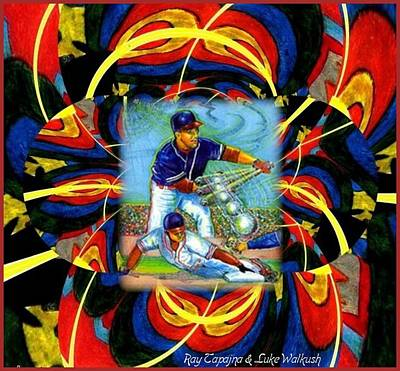 Poster featuring the mixed media Play Ball  Getting On Base by Ray Tapajna
