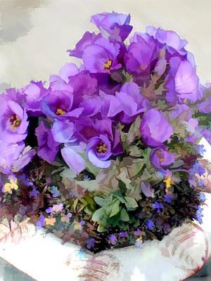 Pleasing Purple Flowers In A Pot Poster