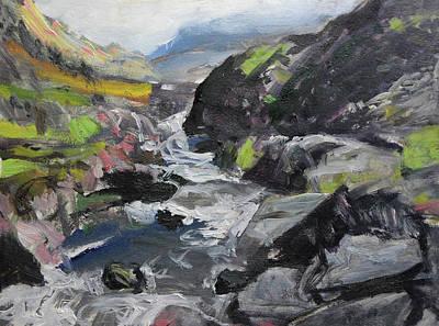 Plein Air Sketch At Ogwen Snowdonia Poster by Harry Robertson