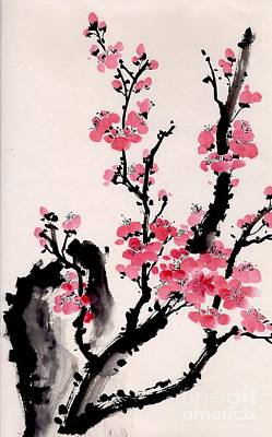 Poster featuring the painting Plum Blossoms Iv by Yolanda Koh