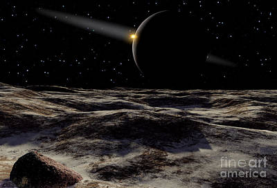 Pluto Seen From The Surface Poster by Ron Miller