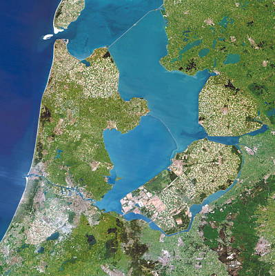 Polders, Satellite Image Poster by Planetobserver