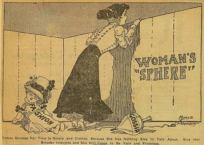Political Cartoon Shows Woman Peering Poster by Everett