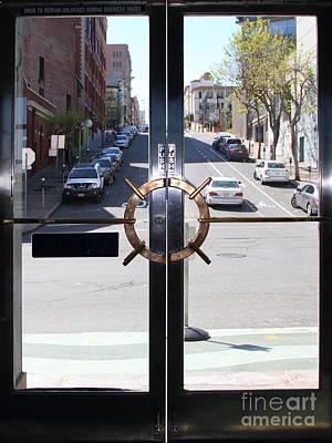 Polk Street Through The Doors Of The Sala Burton Building . Maritime Museum . Sf California. 7d14085 Poster by Wingsdomain Art and Photography