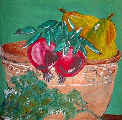 Pomegranates Pears And Parsley Poster by Julie Butterworth