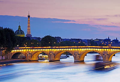 'pont Louis Philippe' Bridge And Eiffel Tower Poster by Allan Baxter