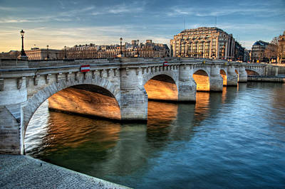 Pont-neuf And Samaritaine, Paris, France Poster by Romain Villa Photographe
