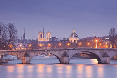 Pont Royal And The City Lights Of Paris Poster by Julian Elliott Ethereal Light