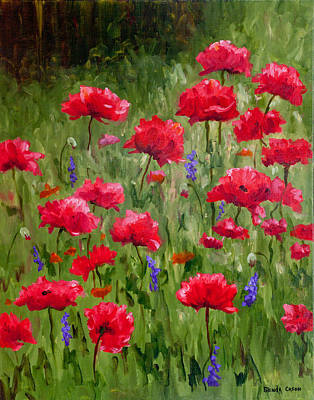 Poppies In A Meadow I Poster