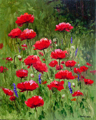 Poppies In A Meadow II Poster