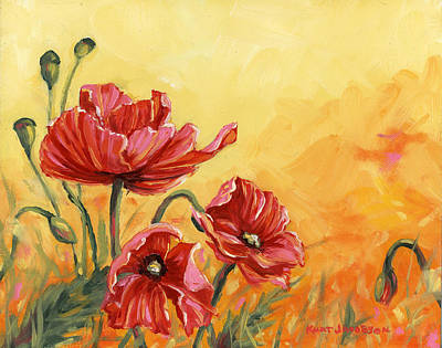 Poster featuring the painting Poppies by Kurt Jacobson