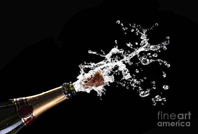Popping Champagne Cork Poster