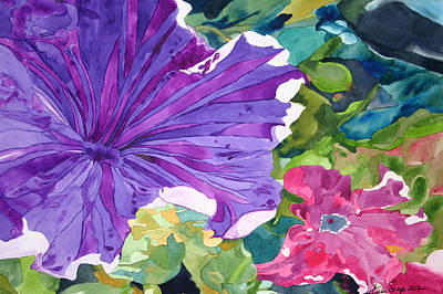 Poster featuring the painting Popping Petunias by Debi Singer