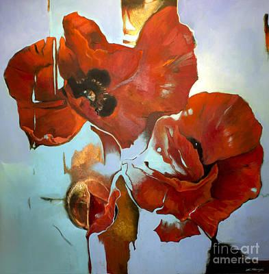 Poppy Sky Poster by Lin Petershagen