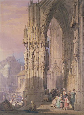 Porch Of Regensburg Cathedral Poster by Samuel Prout
