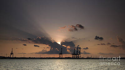 Port Of Charleston Sunset Poster