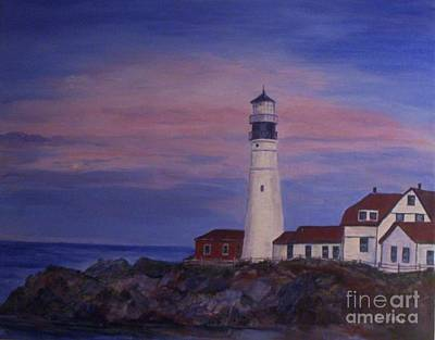 Poster featuring the painting Portland Head Lighthouse At Dawn by Julie Brugh Riffey