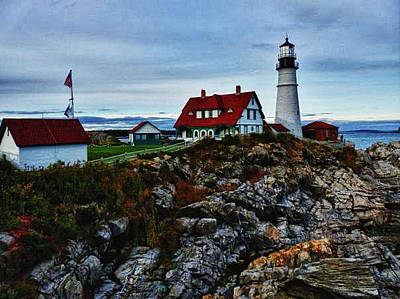Poster featuring the photograph Portland Lighthouse by Kelly Reber