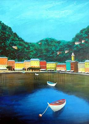 Poster featuring the painting Portofino by Larry Cirigliano