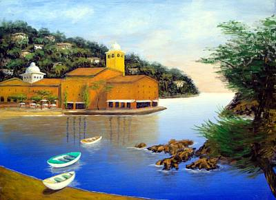 Poster featuring the painting Portofino Pleasures by Larry Cirigliano