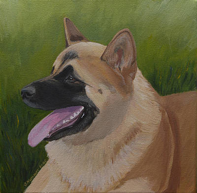 Poster featuring the painting Portrait Of An Akita by Sharon Nummer