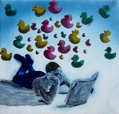 Portrait Of Boy Reading Large Book While Laying On Floor And Fantasizing About Ducks Floating Kids Poster