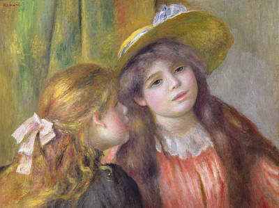 Portrait Of Two Girls Poster by Pierre Auguste Renoir