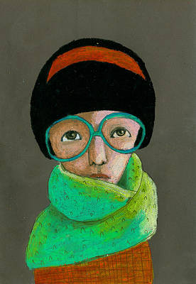 Portrait Of Woman With Glasses Poster by Jenny Meilihove