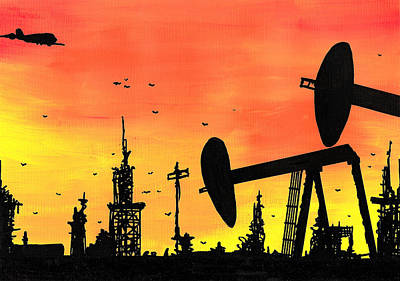 Post Apocalyptic Oil Skyline Poster