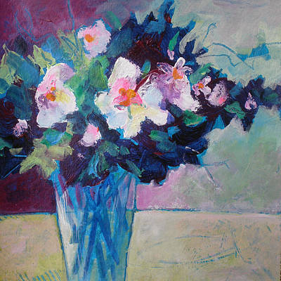 Posy In Magenta And Blue Poster by Susanne Clark
