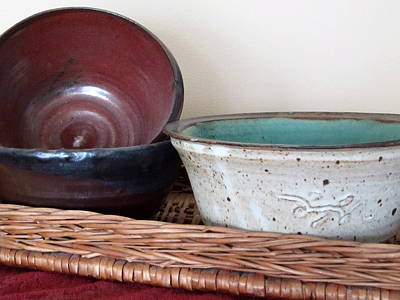 Poster featuring the photograph Pottery In A Basket by Kathy Sheeran