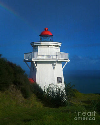 Poster featuring the photograph Pouto Lighthouse With Rainbow New Zealand by Mark Dodd