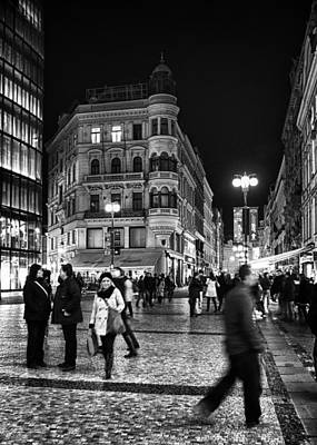 Prague At Night Poster by Stelios Kleanthous